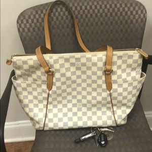 Auth LOUIS VUITTON  Damier Azur Totally MM   Tote